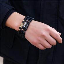 Роскошный Черный бриллиантовый браслет с фианитами мужской черный