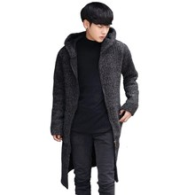 Autumn New Fashion Mens Causal Knit Cardigan Man Sweaters Long Loose Style Hooded Coats Zipper Jacket Outwear Plus Size 4XL(China)