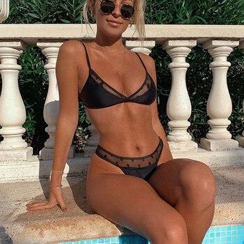 Swimwear Women Sexy Black Mesh Bikini 2020 Female Swimsuit Push Up Biquini Bathing Suit Thong Brazilian Bikinis Set Swim Wear 5