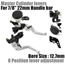 "7/8"" 22mm 125 400CC Silver Adjuestment Motorcycle Brake Clutch Levers Master Cylinder Reservoir Set D40"