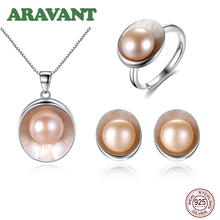 Pearl Jewelry Set For Women Silver 925 Earring Pendant Necklace Adjustable Ring For Women Wedding Jewelry