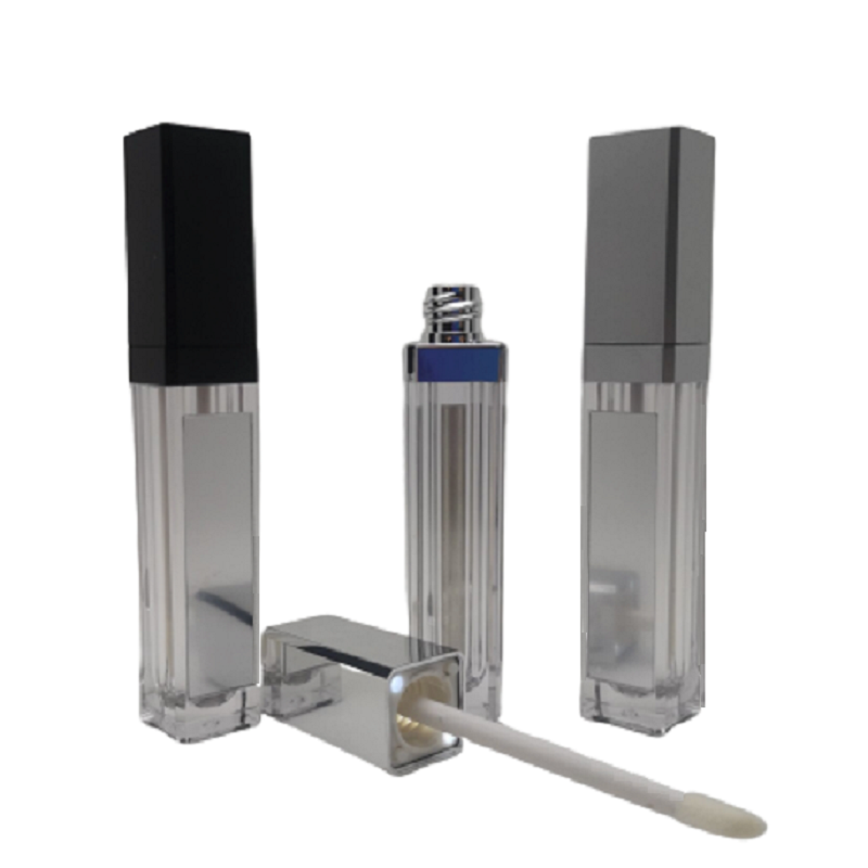 7ML LED Light Lip Gloss Bottle Black Silver Square Liquid Lipstick Container Lip Gloss Tube With LED