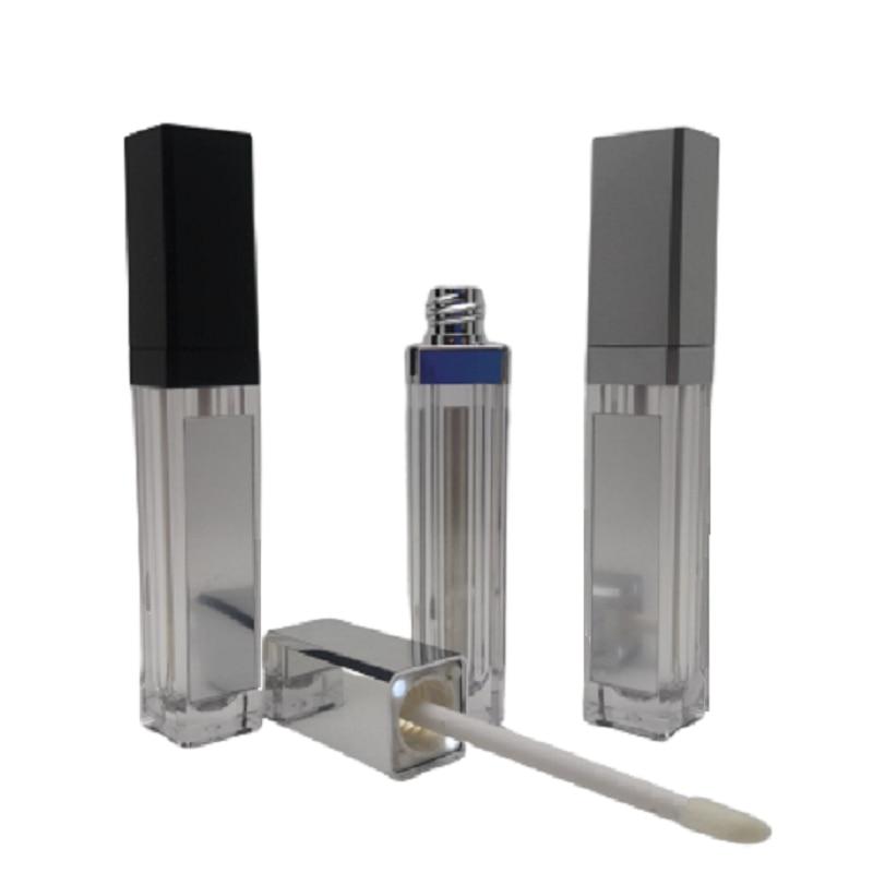 7ML LED Light Lip Gloss Bottle Black Silver Square Liquid Lipstick Container Lip Gloss Tube With LED