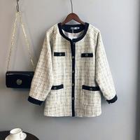 2019 Brand Lady Winter Autumn Woolen Jacket Coat Women Vintage Casaco Femme Warm Tweed Jacket Elegant plaid Overcoat
