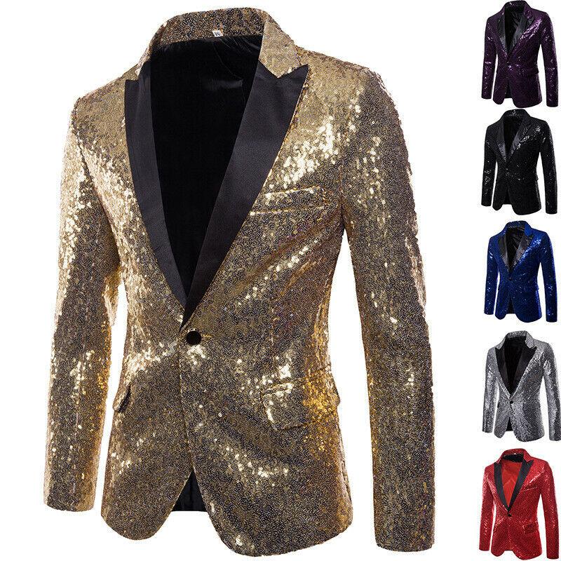 Men Glitter Sequin Suit Jackets Fancy Show Costume Party Coats Men Wedding Party Blazer Gentleman Button Dance Bling Formal Suit