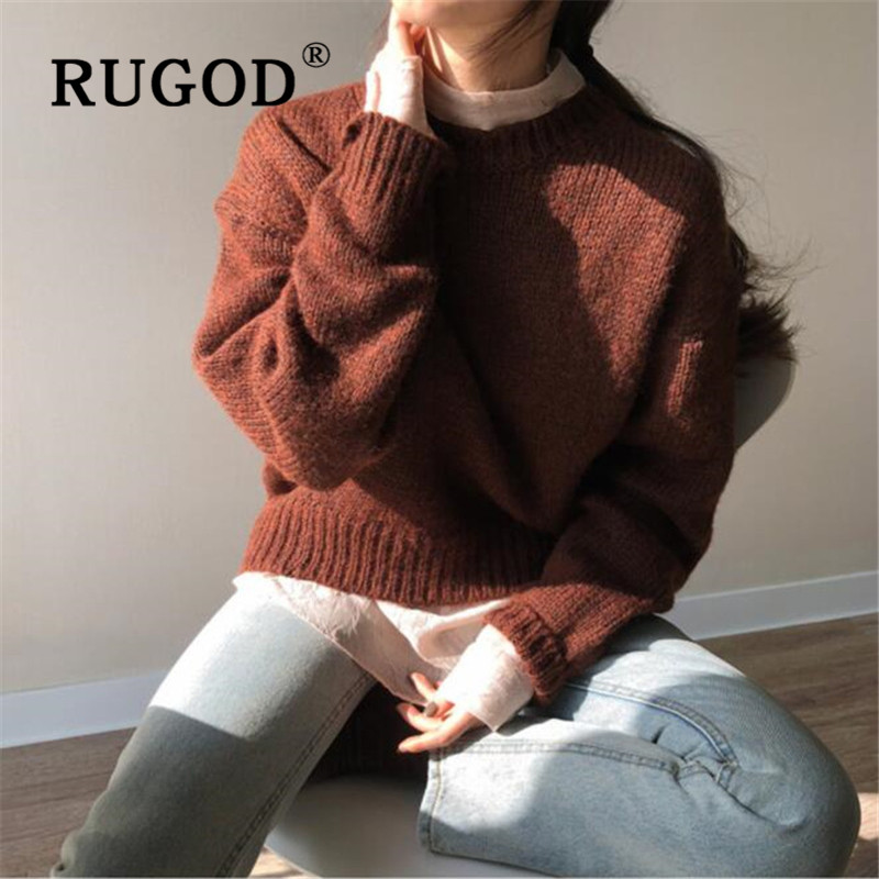 RUGOD Korean New Style Chic Knitted Pullover Women Warm Soft Brown Sweater Semicircular Hem Fashion 2019 Kpop Clothes