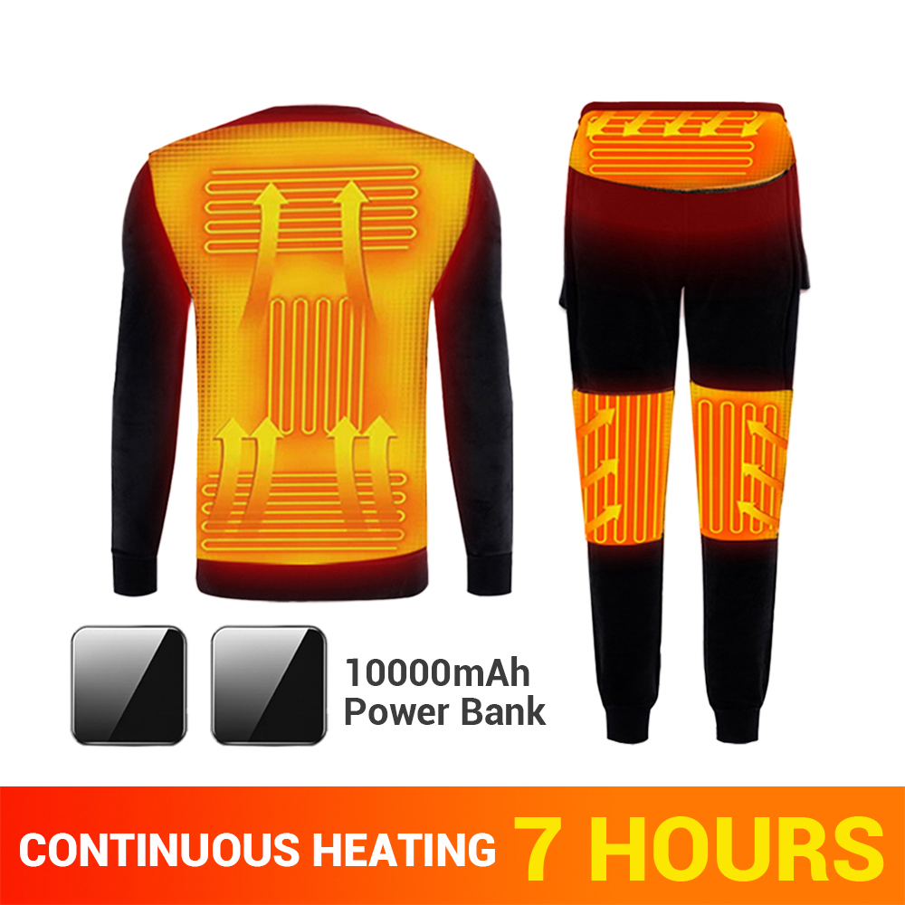 Kış ısıtmalı Iç çamaşırı Polar Astarlı ısıtma Termal Iç çamaşır Seti USB Elektrikli ısıtmalı T-shirt Ve Pantolon Akülü Kayak Tulumu