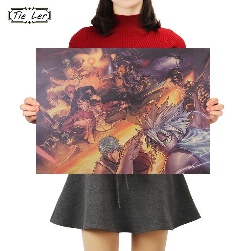 اليابانية الكلاسيكية الكرتون أنيمي مجموعة الأحرف المشارك كرافت ورقة مقهى غرفة الديكور ملصقات جدار 50*35 سنتيمتر