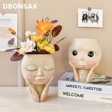 Ваза для лица человека, большой глаз, кукла, полимерный цветочный горшок, фигура, скульптура, ремесла, контейнер для хранения, контейнер для ...