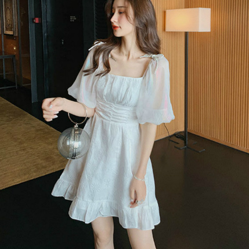 French Dress Women Puff Sleeve Square Collar Dress 2020 Summer Korean Style  A- Line Vintage Retro White Dress for Women
