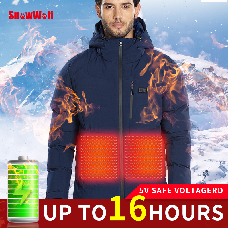SNOWWOLF Men Winter Outdoor Heated Jacket Battery Heating Hooded Electric Jacket Thermal Hiking Camping Coat