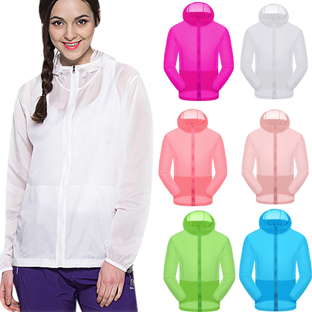 Summer Casual Sunscreen Print Couples Thin Windbreaker Fast Dry Sun Proof Transparent Jacket Size S-3Xl Outwear