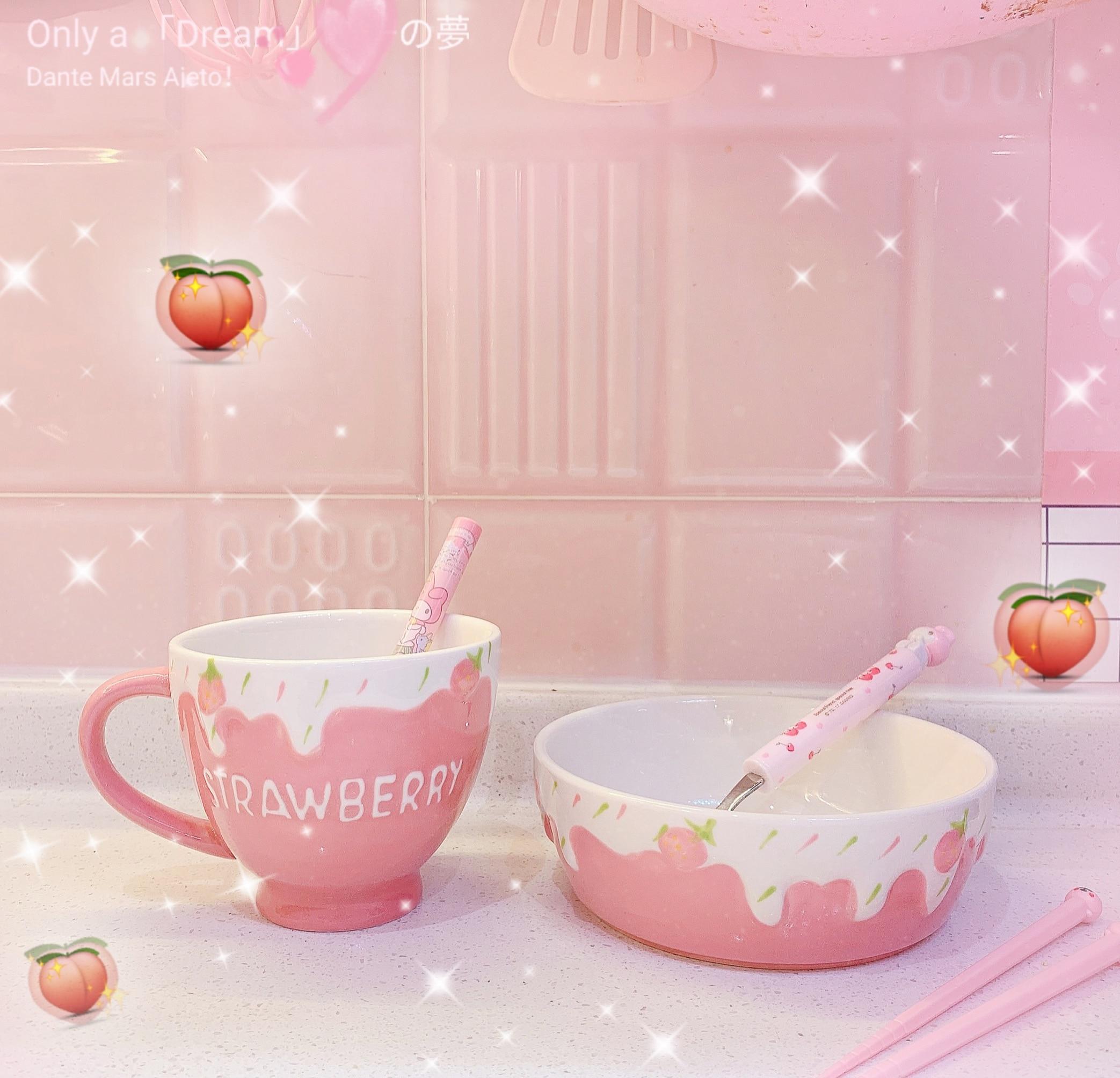 1Pc Kawaii Pink Strawberry  Pattern Relief Non-slip Rice Bowls Soup Bowls Tableware Restaurant Dessert Bowl