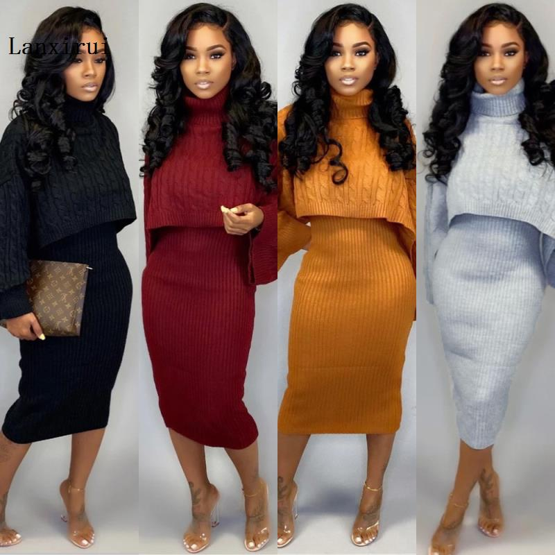 Sexy TWO PIECE SET Mini Skirt Outfits Crop Top Flare Sleeve Sweater Dress Women Jumper Suit Rib Winter Orange Blazer Knitted PCS