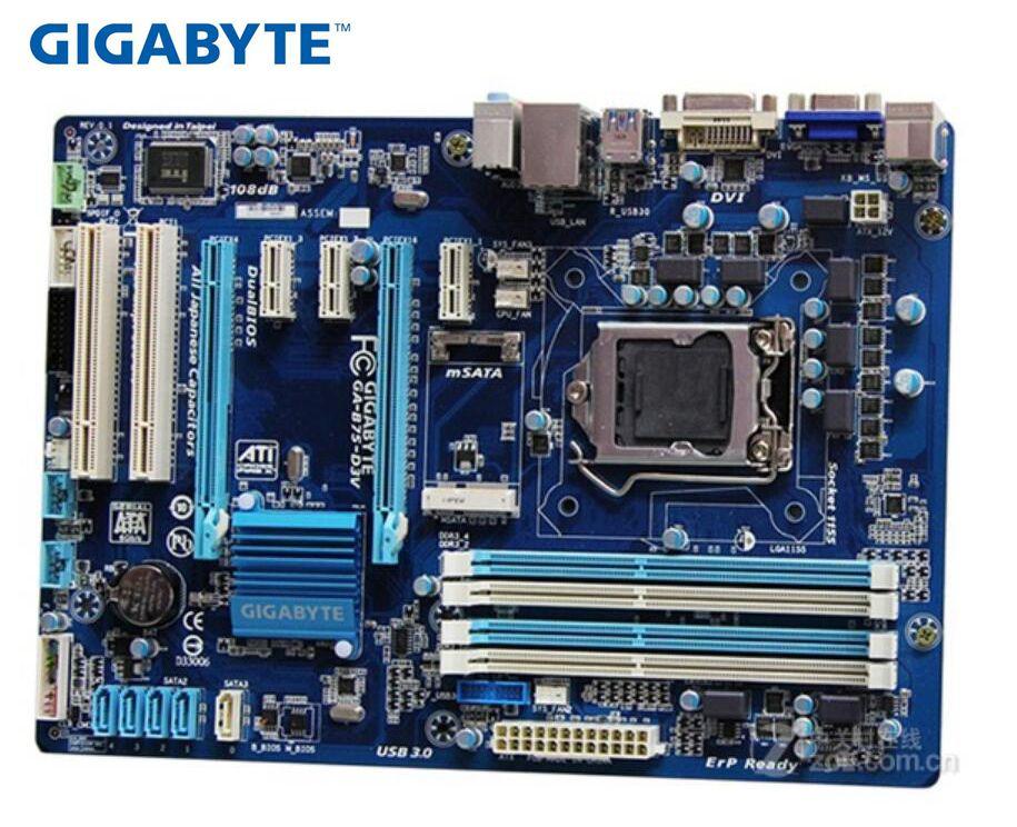 Gigabyte GA-B75-D3 Original Motherboard V Boards LGA 1155 DDR3 B75-D3V Mainboard 32GB B75 USED Desktop Motherboard Boards