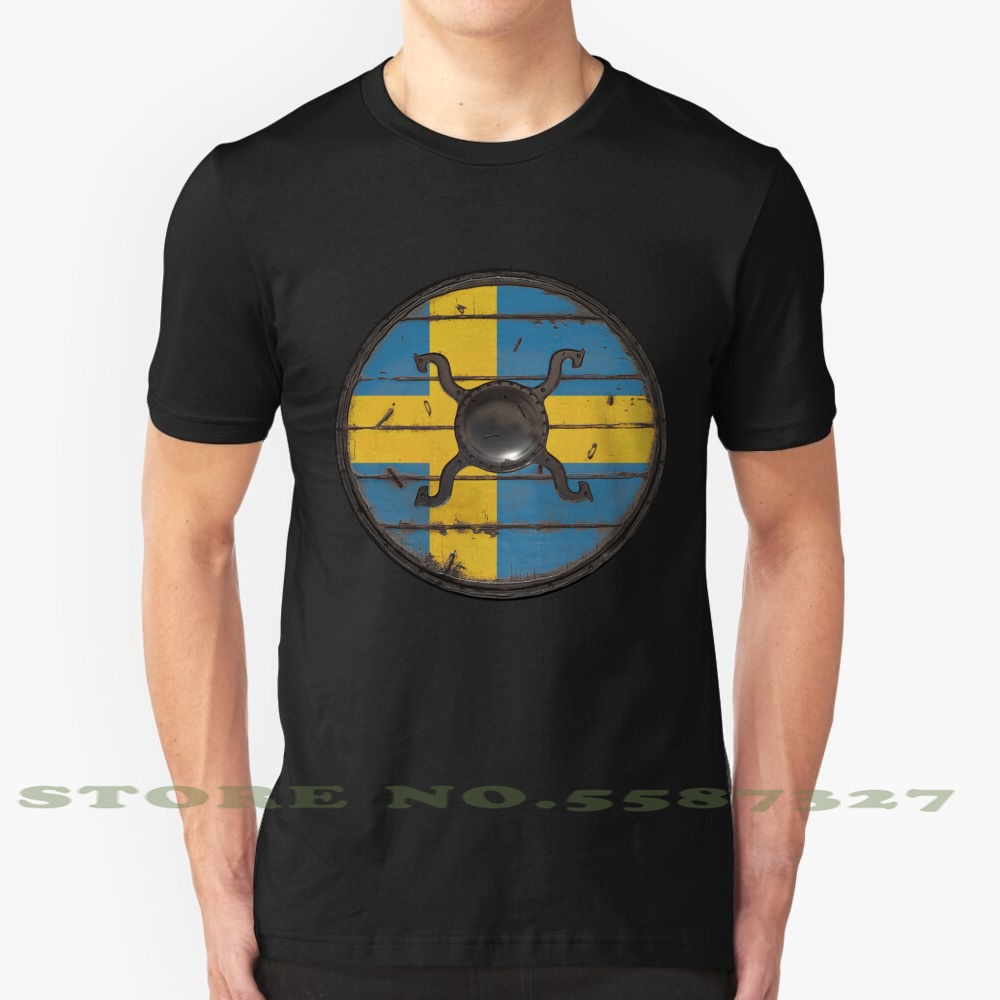 Swedish Viking Shield Summer Funny T Shirt For Men Women Sweden Swedish Viking Shield Ragnar Lothbrok Zlatan Stockholm <font><b>Malmo</b></font> image