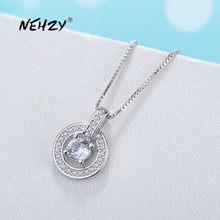 NEHZY – collier en argent Sterling 925 pour femme, nouveau bijou de haute qualité en Zircon cristal, pendentif cœur uniquement, longueur 45cm