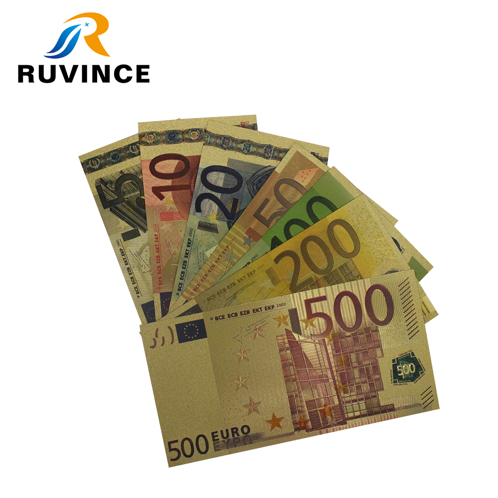 100PCS Crafts Coloured Euros 500 Banknotes Gold Foil Money Collections Gifts EC