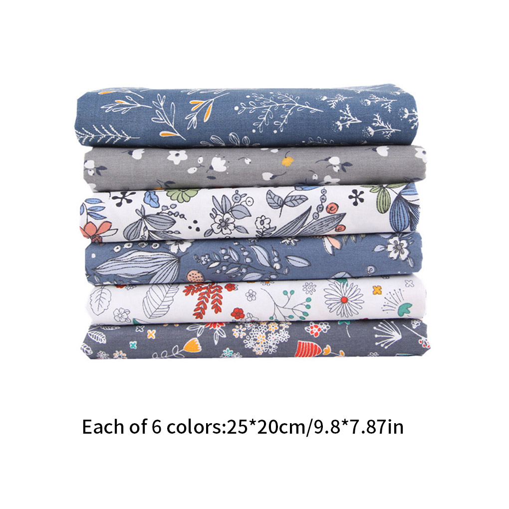 6pcs Handicraft Patchwork Fabrics Sewing Quilting Cotton Cloths DIY Floral Square Fabrics Hand Sewing Supplies-3