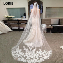 LORIE 3M Long Bridal Veil with Comb White Ivory Elegant Lace Appliqued Edge Tulle Bride Veil One Layer Wedding Accessories