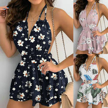 Sexy Halter Dresses Women's Boho Summer Mini Dress 2021 Floral Print Sundress Deep V-Neck Strapless Backless Dresses Vestidos