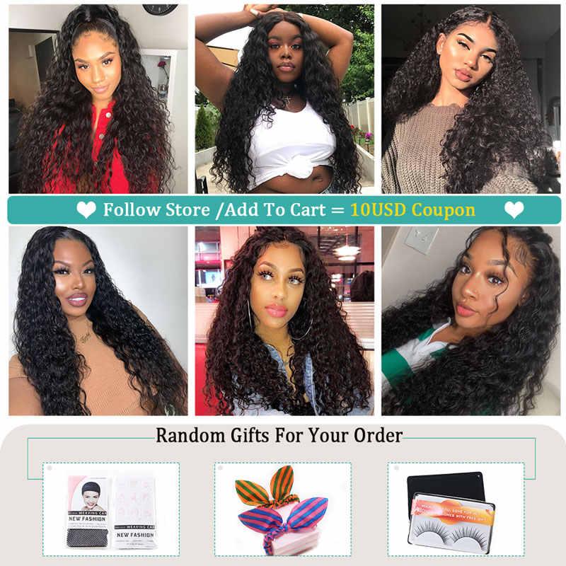 Allove бразильский парик с волнистым кружевом 13X4, человеческие волосы, предварительно отобранные натуральные волосы, 180 250 плотность, парик для женщин