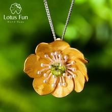 LotusสนุกBlooming Anemoneดอกไม้จี้สร้อยคอเงินแท้ 925 ทำด้วยมือเครื่องประดับสำหรับผู้หญิง