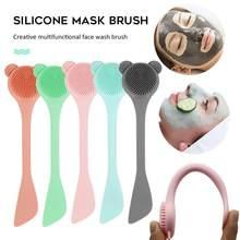 Brosse de nettoyage du visage en Silicone, bâton de masque, brosse de lavage du visage à double usage, exfoliant les pores, outil de nettoyage en profondeur, outil de soins de la peau
