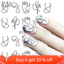 Full Beauty 1 Sheet Nail Water Sticker DIY Black Abstract Image Nail Art Paper Decoration Manicure Style Tool CHSTZ651 53
