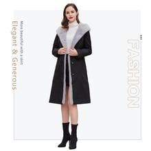 2019 winter women's coat real fur coat in Real Fur parka mink fur collar black rabbit liner jacket Women's winter parka mink цена 2017