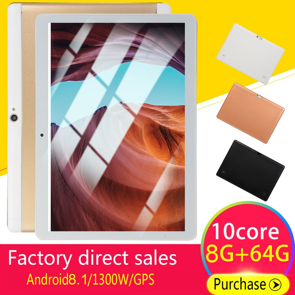 KT107 Round Hole Tablet 10.1 Inch HD Large Screen Android 8.10 Version Fashion Portable Tablet 8G+64G Gold Tablet Gold US Plug