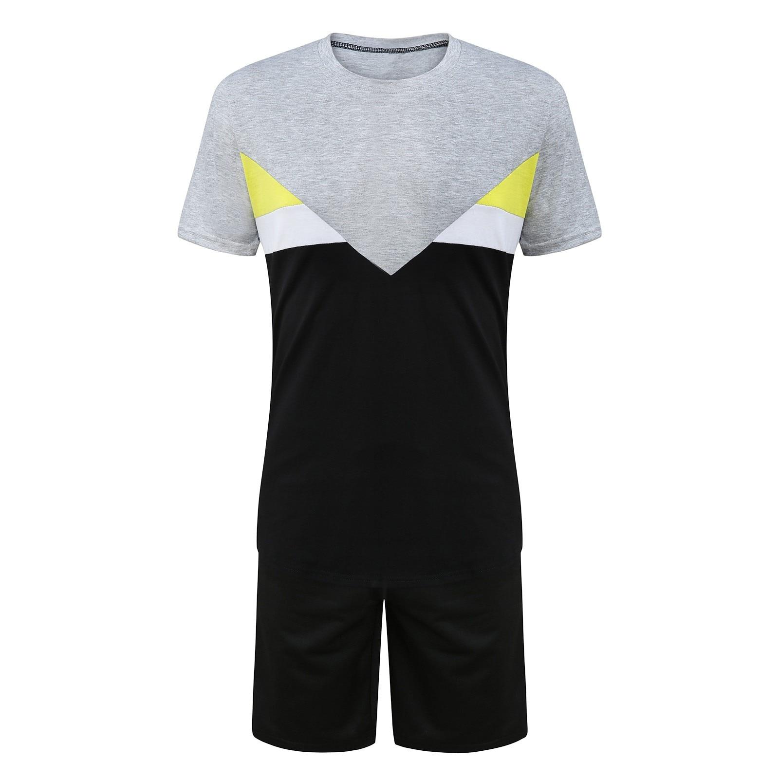 Men s Sets Summer Mens Home Sports Tracksuit Short Sleeve O neck Short Thin Set Breathable