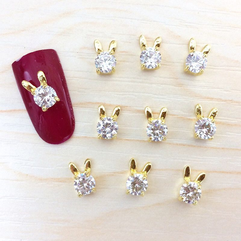 Zircon New Style Nail Ornament High-End Nail Ornament Bunny White Crystal Phototherapy Nail Sticker Decoration