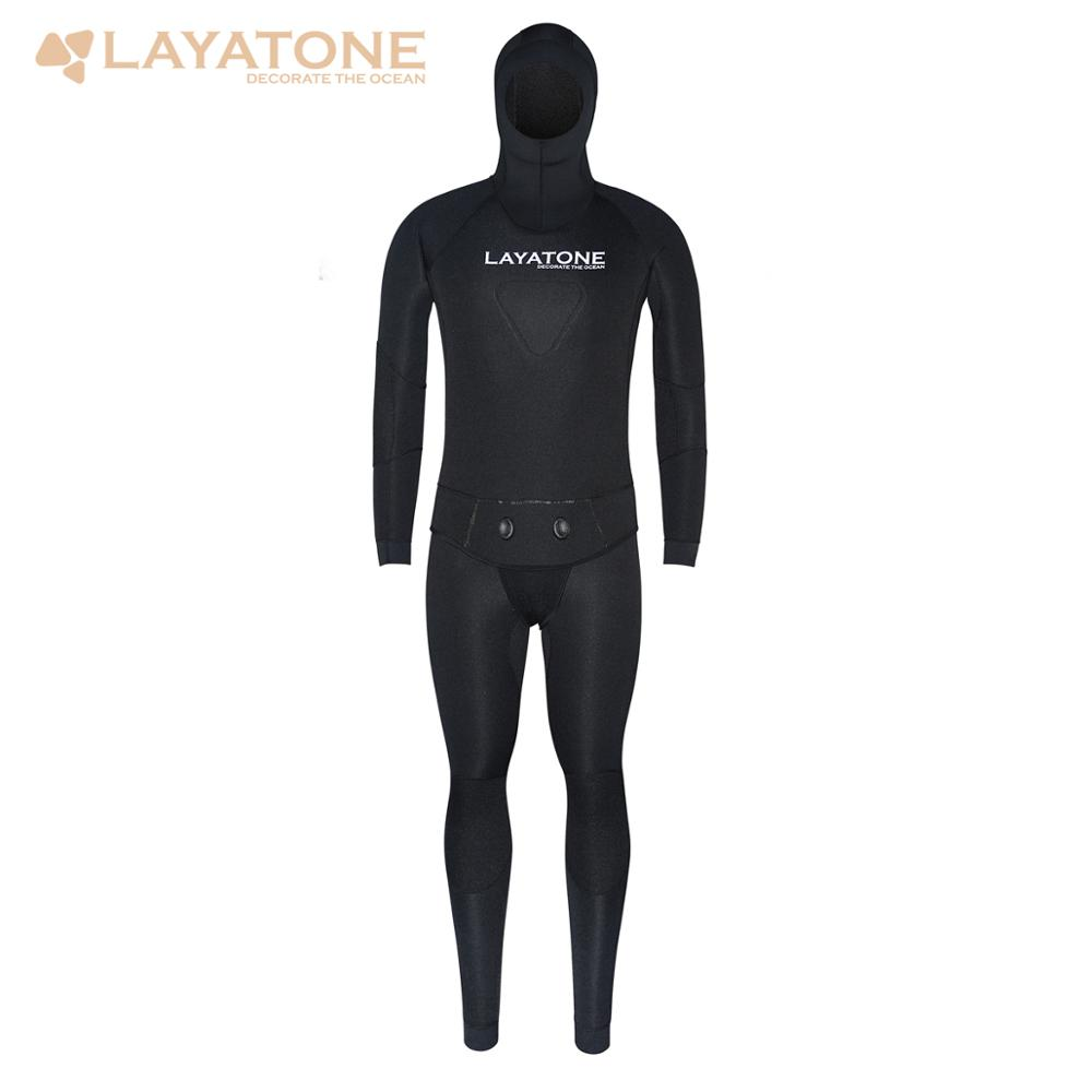 LayaTone Wetsuit Men 7mm Neoprene Diving Spearfishing Suit Two Piece Hooded Water Underwater Hunting Fishing Scuba Diving Suit