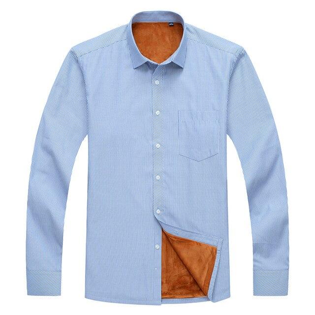 6XL 7XL 8XL 9XL 10XL big size casual shirt 2020 winter plus velvet thick warm brand clothing men's striped long-sleeved shirt Others Men's Fashion