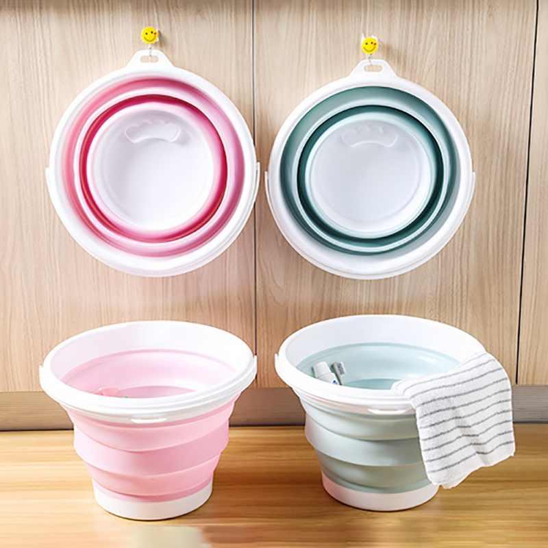 ถังพับแบบพกพาพับอ่างล้างหน้าล้างรถเครื่องมือผักผลไม้อ่างล้างหน้าความจุสูงทำความสะอาดในครัวเรือน
