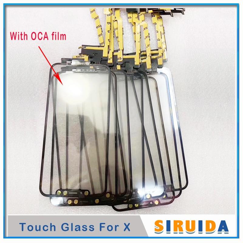 (Passar todos os ios) 1 pces/5 pces/10 pces nenhuma soldadura tela de toque + cola oca para iphone x xsmax digitador frontal lente vidro painel reparação