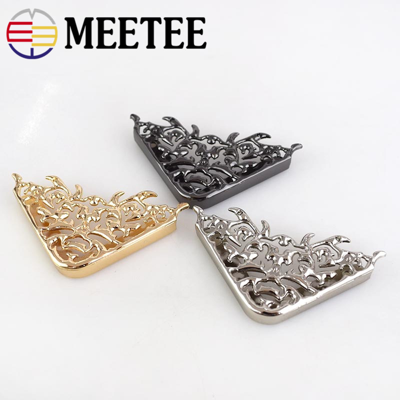 Meetee 4 10pcs 46 63mm Bag Corner Protector Metal Buckles Luggage Leather Bag Clothing DIY Handmade Decorative Accessories BD303 in Buckles Hooks from Home Garden