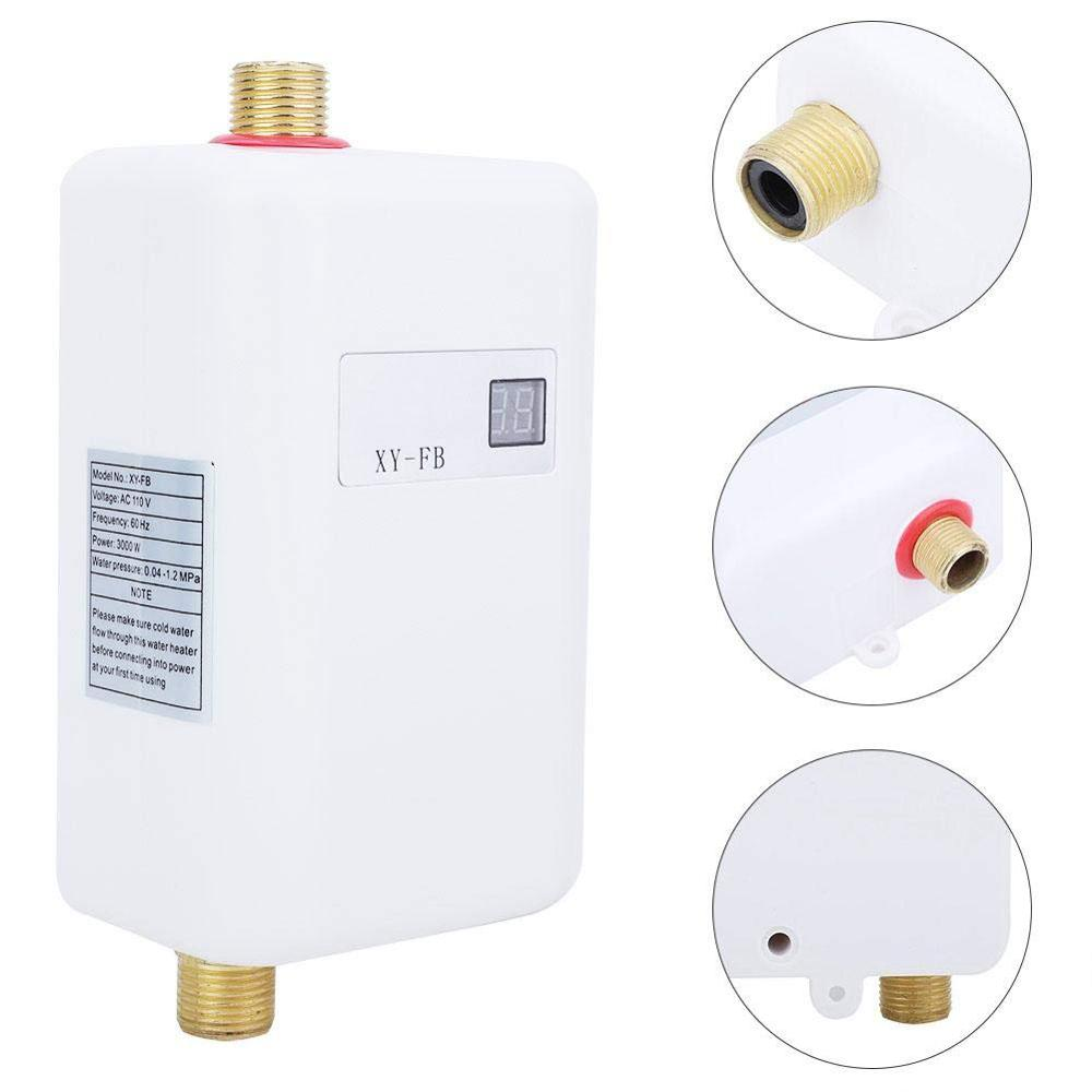 ALDXY50-XY-FB,AC110,US Plug,Electric Water Heater 3000W Mini Tankless Instant Hot Water Heater System for Bathroom Kitchen Household Washing White