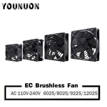 YOUNUON 60mm 80mm 90mm 120mm EC Brushless Fan AC 110V 115V 120V 220V 240V Axial Fan with Srews/Grill 6025 8025 9225 12025 12038 1pcs dual ball 60mm 6cm 60x60x25mm ec brushless fan ac 110v 115v 120v 220v 240v axial fan 6025 industry cooler
