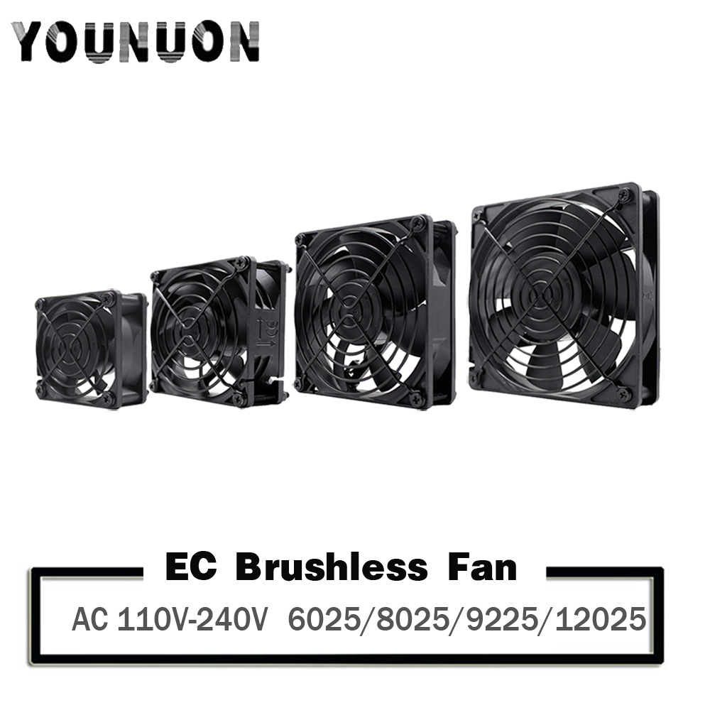 YOUNUON 60mm 80mm 90mm 120mm EC ventilateur sans brosse ca 110V 115V 120V 220V 240V ventilateur Axial avec Srews/Grill 6025 8025 9225 12025 12038