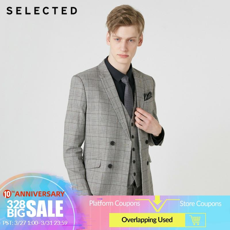 SELECTED Men's Cotton-blend Plaid Double-breasted Blazer Jacket S|419272513