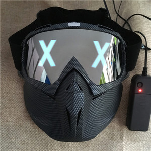Image 5 - LED Lights Mask Luminous Half Face X Glowing Eyes DIY Eyewear Mask Removable masks DJ Party Halloween Cosplay Prop Gift