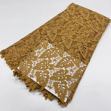 New High Quliay Ginger Color Embroidered  African Tulle Lace In French Net Stones 5Yards For Wedding Dress