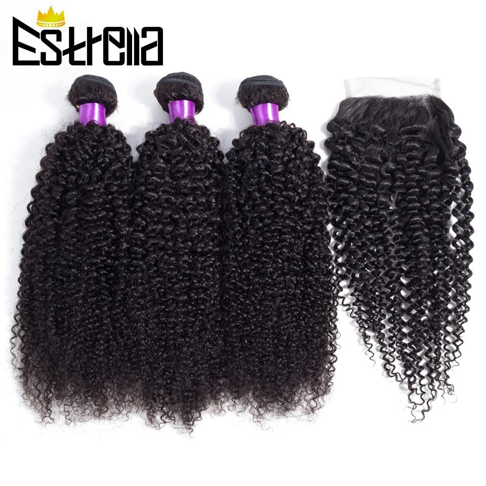 Extensiones de cabello humano rizado brasileño con cierre de encaje 4x4, 3 mechones con cierre, tejido de pelo Remy de tres partes