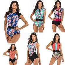 Zipper Monokini Swimsuit Sport-Bodysuit Beach-Wear Plus-Size Sexy Women One-Piece