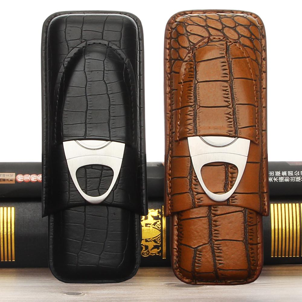 GALINER Leather Travel Cigar Case Portable 2 Tube Holder Humidor Cigars Accessories For Cohiba W/ Cigar Cutter & Gift Box