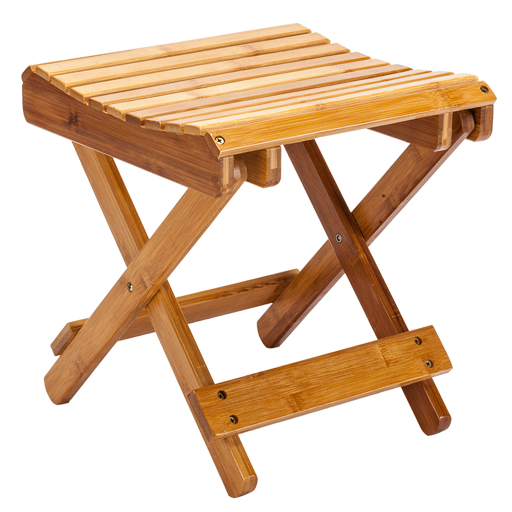 New Portable Children Multi-function Collapsible Bamboo Stool Multifunctional Folding Children's Bath Stool Shower Footstool