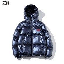 Daiwa зимние Для мужчин рыбалка куртка ярких глянцевых уплотненная одноцветная теплая Рыбалка Костюмы пальто с капюшоном свободные Для мужчин хлопка для активного отдыха