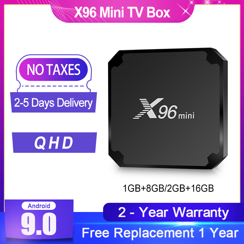 QHD Android 10 0 X96mini TV box S905W Quad Core 1G8G 4K HDR QHD FHD 1 Year warranty smart tv box Android TV receiver no app